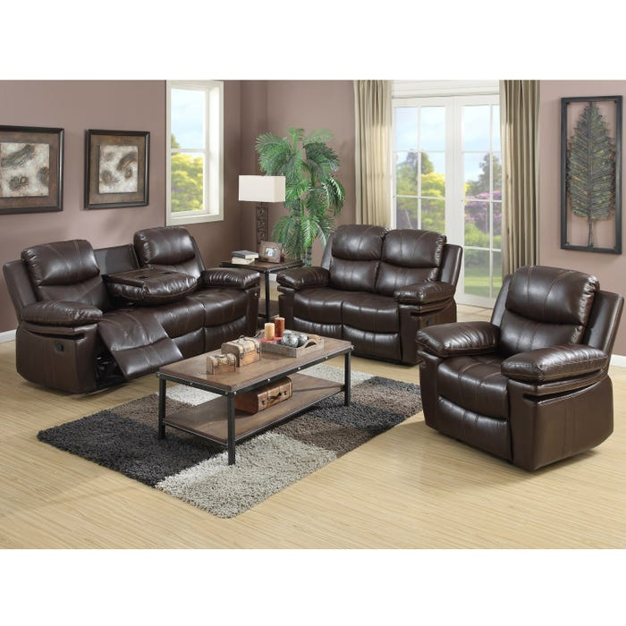Fine Norwich 3 Piece Leather Look Recliner Sofa W Drop Down Table In Dark Brown Download Free Architecture Designs Grimeyleaguecom