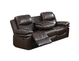 Norwich Leather Look Reclining Sofa in Dark Brown