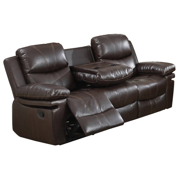 Norwich Leather Look Recliner Sofa with Drop Down Table in Dark Brown