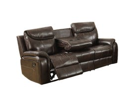 Kwality Courtney Leather-air Reclining Sofa in Dark Brown