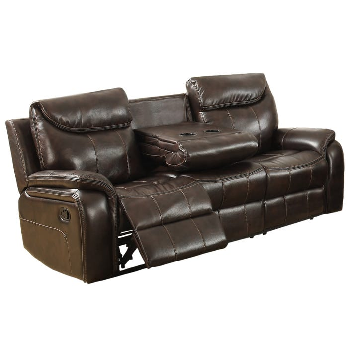 Kwality Courtney Collection Leather Look Reclining Sofa in Dark Brown 6491