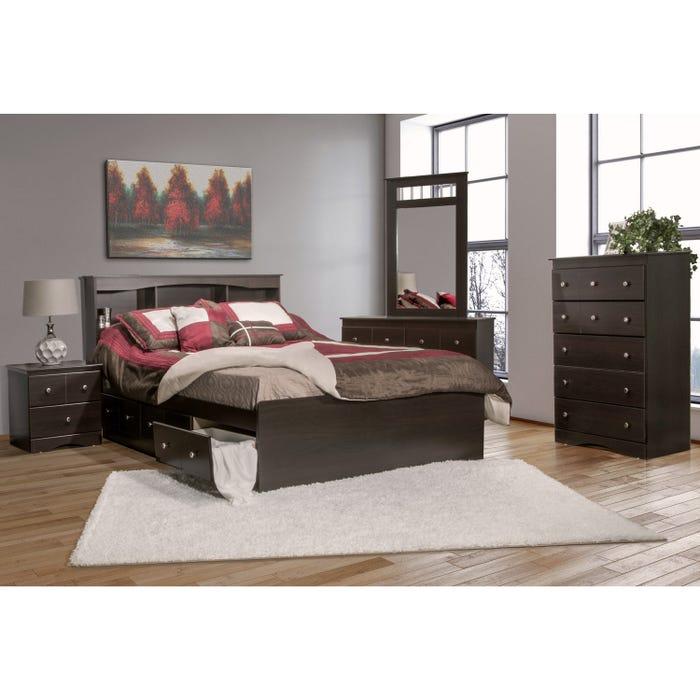 Modern Furniture wooden 6 piece queen bedroom set in dark 5000