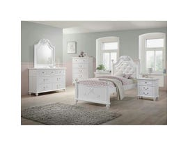 High Society Alana Series 6pc Twin Bedroom Set in White AN700