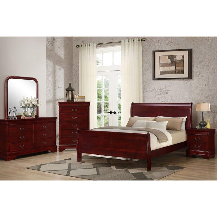 Louis Philippe Cherry 6 Piece Queen Bedroom Set C4937a