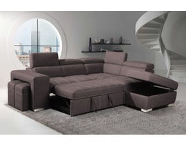 Positano Nubuk Fabric Sleeper Sectional with Storage Ottoman & Stools in Tex Mushroom TEX208-14
