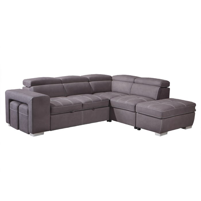 Positano Nubuk fabric sleeper sectional in grey with ottoman