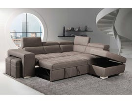 Positano Nubuk Fabric Sleeper Sectional with Storage Ottoman & Stools in Mushroom