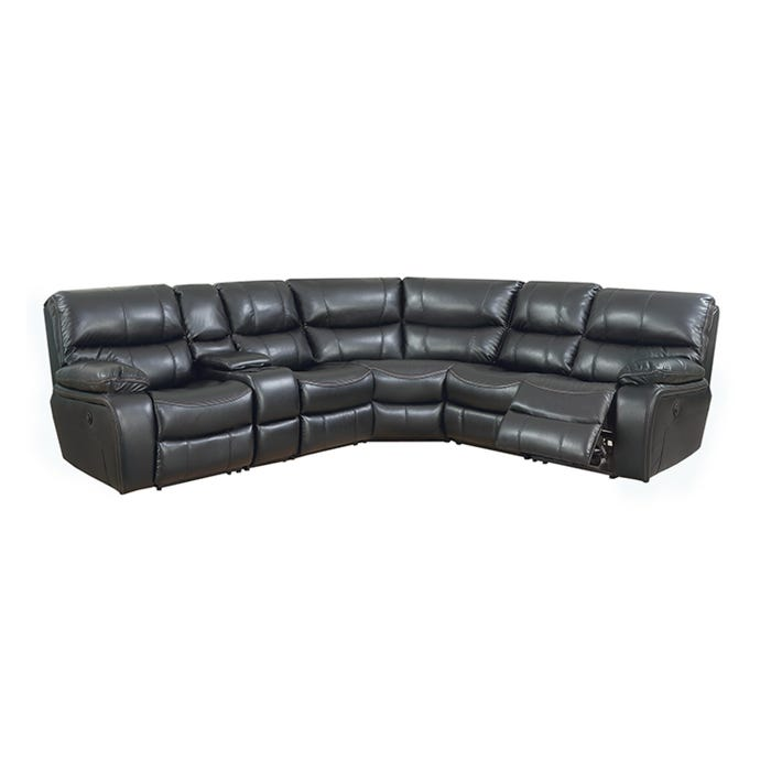 High Society Vino Reclining Leather-look Power Sectional in Black