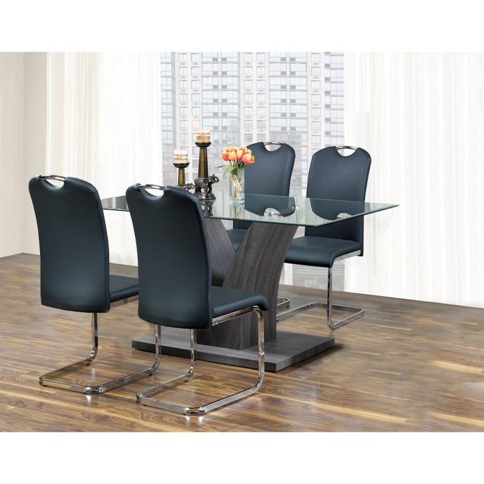 Kwality Lorie 5-Piece Dinette in Grey Table and Black Chair T-7400