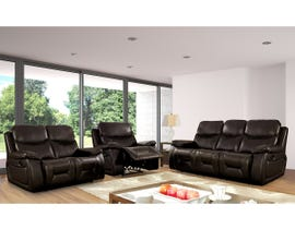Beverly 3pc Leather Air Reclining Sofa Set in Chocolate Brown
