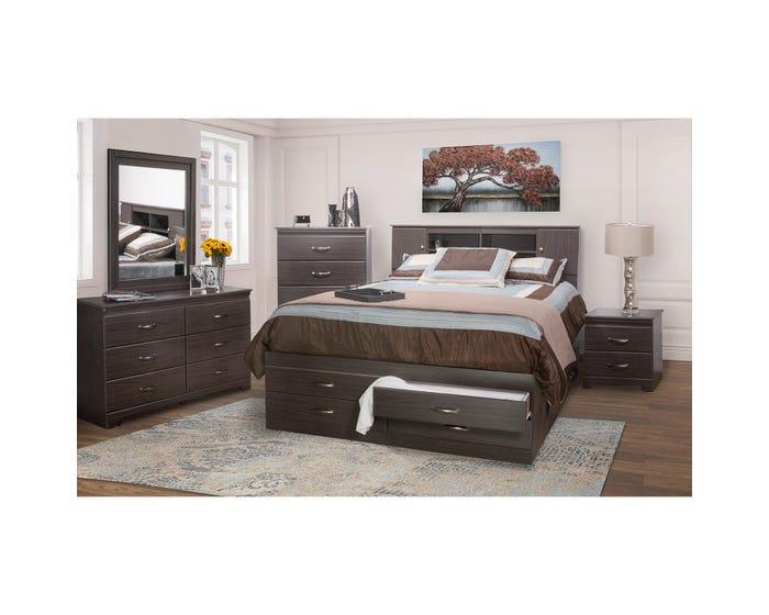 Modern Furniture 6pc King Storage Bedroom Set in Dark Brown 5600