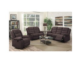 Flair Hoffman 3-piece Fabric Reclining Living Room Set in Felix Chocolate Brown FC01P