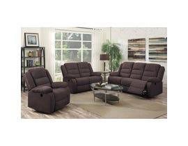 Flair Hoffman 3-piece Fabric Reclining Living Room Set in Felix Chocolate Brown FC01P