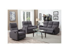 Kwality Maya 3-Piece Fabric Motion Reclining  Living Room Set in Grey 9929