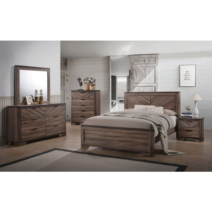 Lifestyle vibrant grain brown 6-piece queen bedroom set C7309A