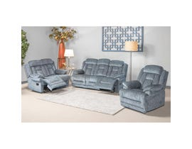 Flair Moraine 3-Piece Fabric Reclining Living Room Set in Grey