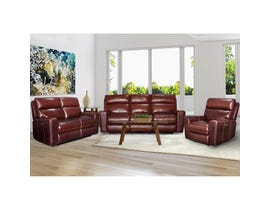 PR Furniture Archie 3-Piece Leather Reclining Power Motion Living Room Set in Milton Auburn