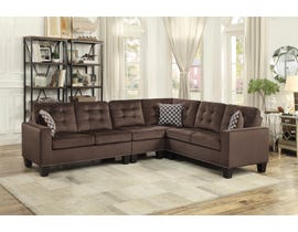 Mazin Fabric Contempoary Sectional in Chocolate Brown 9957