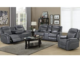 3-Piece Leather Gel Sofa Set w/ Drop Down Table in Grey JR03