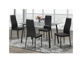Brassex 5-Piece Metal Dining Set with Tempered Glass in Black 9160