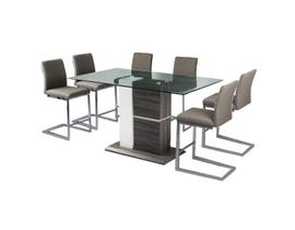 Mazin Furniture Shirelle Collection 7 Piece Metal Dining Set in Brown 6826