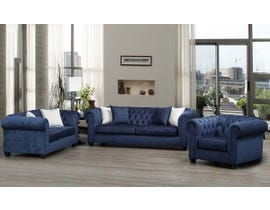 SBF Upholstery 3-Piece Fabric Sofa Set in Midnight 2525