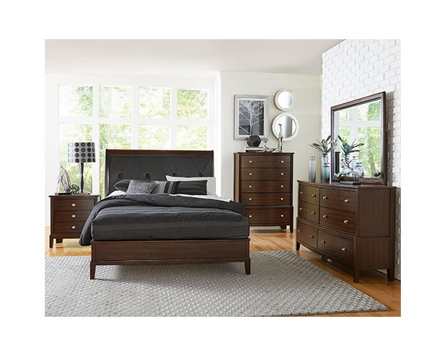 M.A.Z. Pinewood/MDF 6pc King Bedroom Set in Cherry 1730