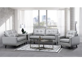SBF Upholstery Fresno Collection Zurick Collection 3pc Leather Sofa Set in Steel Grey 5543