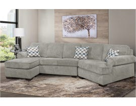 SBF Upholstery Apollo Series 3pc LHF Sectional with Cuddler in Infinity Light Grey 9907