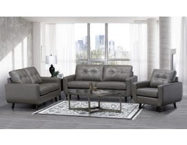 SBF Upholstery Fresno Collection Zurick Collection 3 Pc Leather Match Sofa Set in Grey 5543