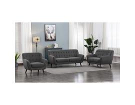Mazin Furniture 3 PC Fabric Sofa Set in Grey