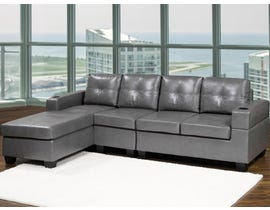 Kwality Leather Air Sectional in Grey 1801
