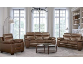 A&C Furniture Leather 3Pc Sofa Set in Saddle 1010