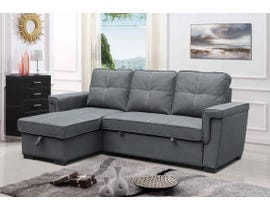 Amalfi Brody Series 2pc Sectional with Pull-Out Bed & Reversible Storage Chaise in Titanium Grey