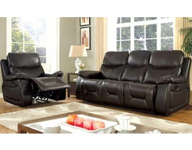 Beverly 2-Piece Leather Air Reclining Sofa Set in Chocolate Brown