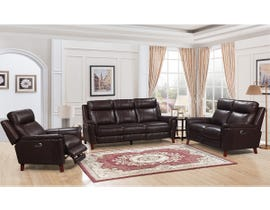 Amalfi Nora Series Leather-Match Power Reclining Sofa Set in Two Tone Dark Brown 9800