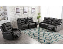 L-style 3pc Leather Look Powered Reclining Sofa Set in Mustang Cobalt U80143