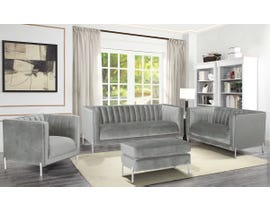 K-Living Arthur Velvet Suede Fabric 4pc Sofa Set with Metal Legs in Grey 19043