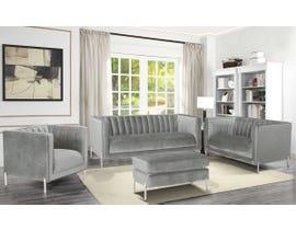 K-Living Arthur Velvet Suede Fabric 4pc Sofa Set with Metal Legs in Grey 19043