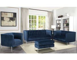 K-Living Arthur Velvet Suede Fabric 4pc Sofa Set with Metal Legs in Blue 19043-SET