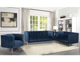 K-Living Arthur Velvet Suede Fabric 3pc Sofa Set with Metal Legs in Blue 19043