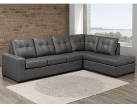 SBF Coral Collection 2pc Leather Sectional in Zurick Grey 9883