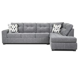 A&C Furniture 2pc RHF Fabric Sectional in Light Grey 1212