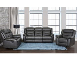 Primo Montana Series 3pc Leather Match Manual Reclining Sofa Set in Cement Grey 482