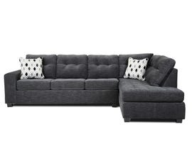 A&C Furniture 2pc RHF Fabric Sectional in Dark Grey 1212