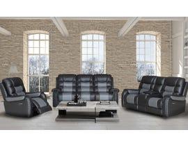 Fresh 3pc Leather Power Reclining Sofa Set in Black/Dark Grey 1008