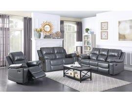 Fresh Leather Air Reclining Sofa Set in Grey 6020