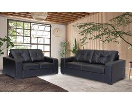 Flair Furniture Leather Air 2pc Sofa Set in Black 1420