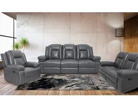 ZHEFU Leather Air Reclining 3pc Sofa Set in Grey M66226