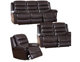Sofa by Fancy Bennet Solitaire 3-Piece Leather Match Living room set in Chocolate Brown 9153
